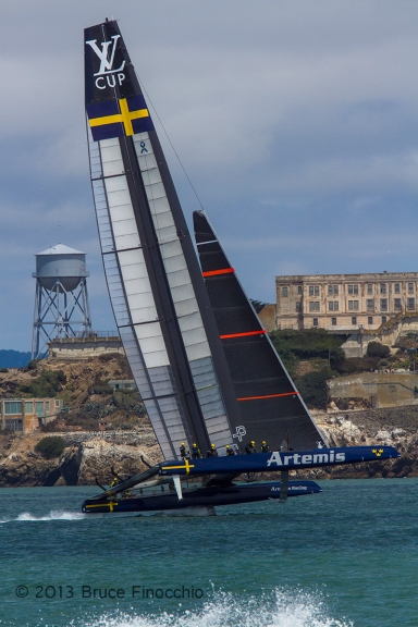 Artemis America's Cup Boat Makes An Extreme Turn In Front of Alcatraz